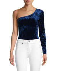 Mimi Chica - One-shoulder Velvet Bodysuit - Lyst