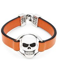 King Baby Studio - Skull Sterling Silver And Leather Bracelet - Lyst