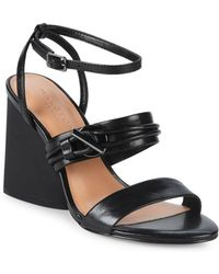 Halston - Sola Leather Ankle Strap Sandals - Lyst