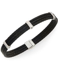 Alor - Noir Diamond, 18k White Gold & Black Stainless Steel Bracelet - Lyst