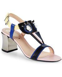 Fendi - Leather & Metal Block Heel Sandals - Lyst