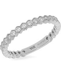 Nephora - Diamond Trend Three-quarter Way 14k White Gold & Diamond Band Ring - Lyst
