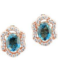 Le Vian - 14k Strawberry Gold & Deep Sea Blue Topaz Stud Earrings - Lyst