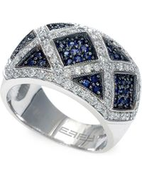 Effy - Final Call 0.76tcw Diamonds, Natural Sapphire And 14k White Gold Ring - Lyst