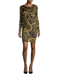Versace Jeans - Printed Sheath Dress - Lyst