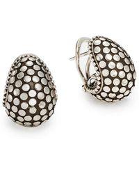 John Hardy - Dotted Sterling Silver Buddha Belly Earrings - Lyst