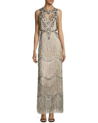 Adrianna Papell - Sleeveless Beaded Fringe Gown - Lyst