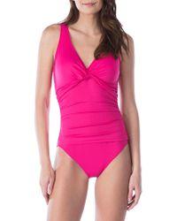 Lauren by Ralph Lauren - Neco Twist One-piece Swimsuit - Lyst