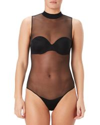 Spanx - Sheer Fashion Mock Neck Bodysuit, Mesh - Lyst