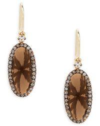 Suzanne Kalan - Smokey Quartz, Champagne Diamond And 14k Yellow Gold Drop Earrings - Lyst