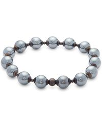 Saks Fifth Avenue - Hematite Elastic Beaded Bracelet - Lyst