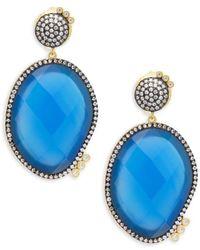 Freida Rothman - Baroque Blues Opulence Blue Agate & Gold Drop Earrings - Lyst