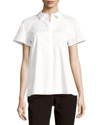Lafayette 148 New York - Ingrid Solid Button-front Top - Lyst