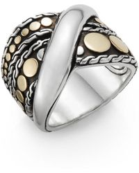 John Hardy - Dot Menari 18k Yellow Gold & Sterling Silver Twist Ring - Lyst