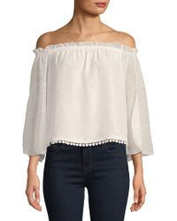 Laundry by Shelli Segal - Lace-trimmed Off-the-shoulder Blouse - Lyst
