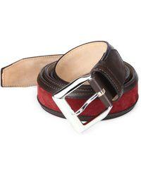 Sutor Mantellassi - Truman Veloucal Adjustable Leather & Suede Belt - Lyst