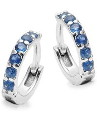 Danni - Blue Sapphire, Diamond And 14k White Gold Huggie Earrings - Lyst