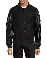 Members Only - Patched Button-front Varsity Jacket - Lyst