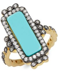 Freida Rothman - Turquoise, Mother-of-pearl & Goldplated Bar Ring - Lyst