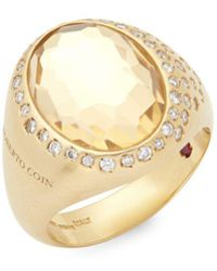 Roberto Coin - Diamond, Crystal And 18k Gold Satin Doublet Ring - Lyst