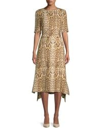 Adam Lippes - Asymmetrical Leopard-print Midi Dress - Lyst