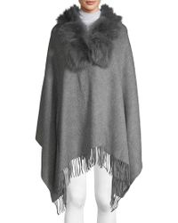 Belle Fare - Dyed Fox & Rabbit Fur Collar, Wool & Cashmere Poncho - Lyst