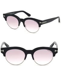 dd9b724695 Tom Ford Tf5365 Black Semi-rimless Cat Eye Optical Frames in Black ...
