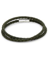 Tateossian - Pop Rigato Scoubidou Silver & Leather Braided Bracelet - Lyst