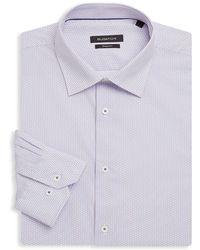 Bugatchi - Shaped-fit Printed Cotton Dress Shirt - Lyst
