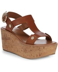 Frye - Dahlia Rivet Leather Wedge Sandals - Lyst