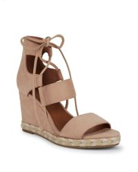 668693eb3b Lyst - Frye Roberta Ghillie Leather Wedge Sandal in Brown - Save ...
