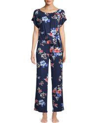 Catherine Malandrino - Two-piece Smocked Floral Pajama Set - Lyst