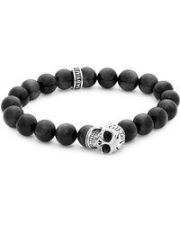 King Baby Studio - Sterling Silver Skull & Onyx Bead Bracelet - Lyst
