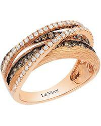 Le Vian - Chocolatier® Vanilla Diamonds® & Chocolate Diamonds® 14k Strawberry Gold® Gladiator Weave Ring - Lyst
