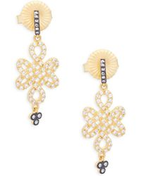 Freida Rothman - Crystal Clover Drop Earrings - Lyst