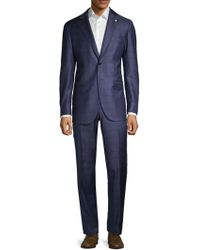 Lubiam - Modern Fit Windowpane Wool Suit - Lyst