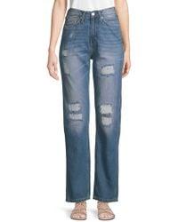 Calvin Klein - Distressed High-rise Wide-leg Jeans - Lyst