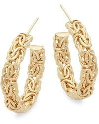 Saks Fifth Avenue - Woven Yellow Gold Hoops/1'' - Lyst