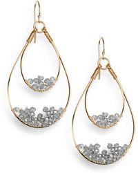 Nunu - Grey Wire-beaded Teardrop Earrings - Lyst