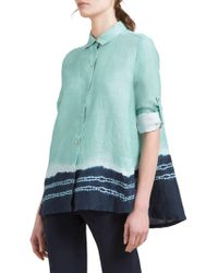 Donna Karan - Printed Linen Button-front Shirt - Lyst