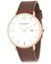 Bruno Magli - Stainless Steel And Gold Ion Plated Leather Strap Watch - Lyst