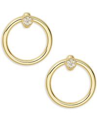 Kenneth Jay Lane - Goldtone Wide Hoop Earrings - Lyst