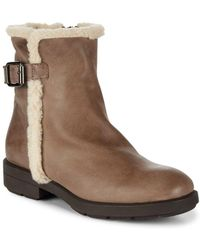 Aquatalia - Faux Shearling Trim Leather Boots - Lyst