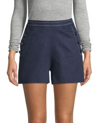 Carolina Herrera - Chambray High-rise Button Shorts - Lyst