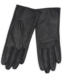 Calvin Klein - Debossed Logo Leather & Suede Gloves - Lyst