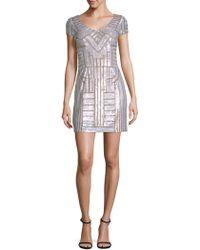 Adrianna Papell - Beaded V-neck Mini Dress - Lyst