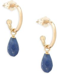 Saks Fifth Avenue | Sapphire And 14k Gold Drop Earrings | Lyst