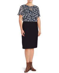 Basler - Plus Marine Polka-dot Blouson Dress - Lyst