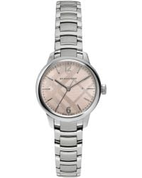 Burberry - Stainless Steel Check Etched Bracelet Watch - Lyst