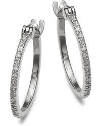 Danni - Diamond And 14k White Gold Hoop Earrings - Lyst